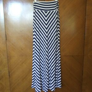 Slanted Striped Maxi Skirt